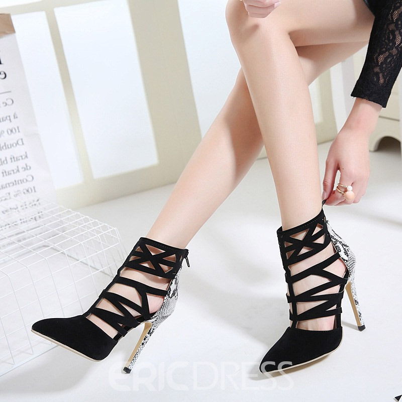 Ericdress Serpentine Zipper Pointed Toe Stiletto Heel Women's Pumps