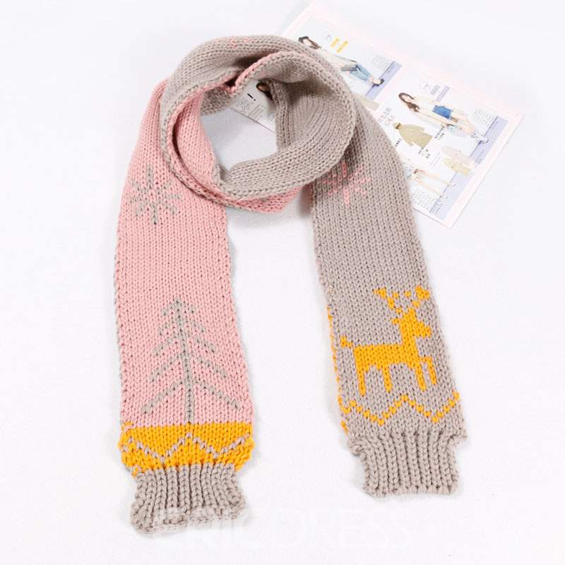 Ericdress Christmas Style Woolen Color Block Scarf