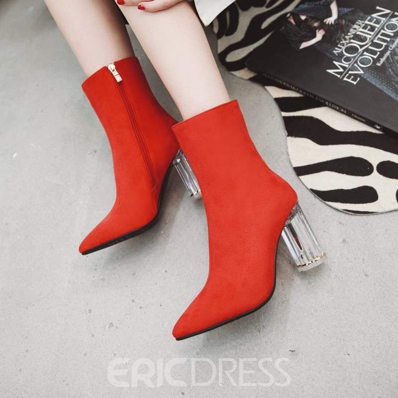 Ericdress Plain Pointed Toe Side Zipper Chunky Heel Women's Ankle Boots