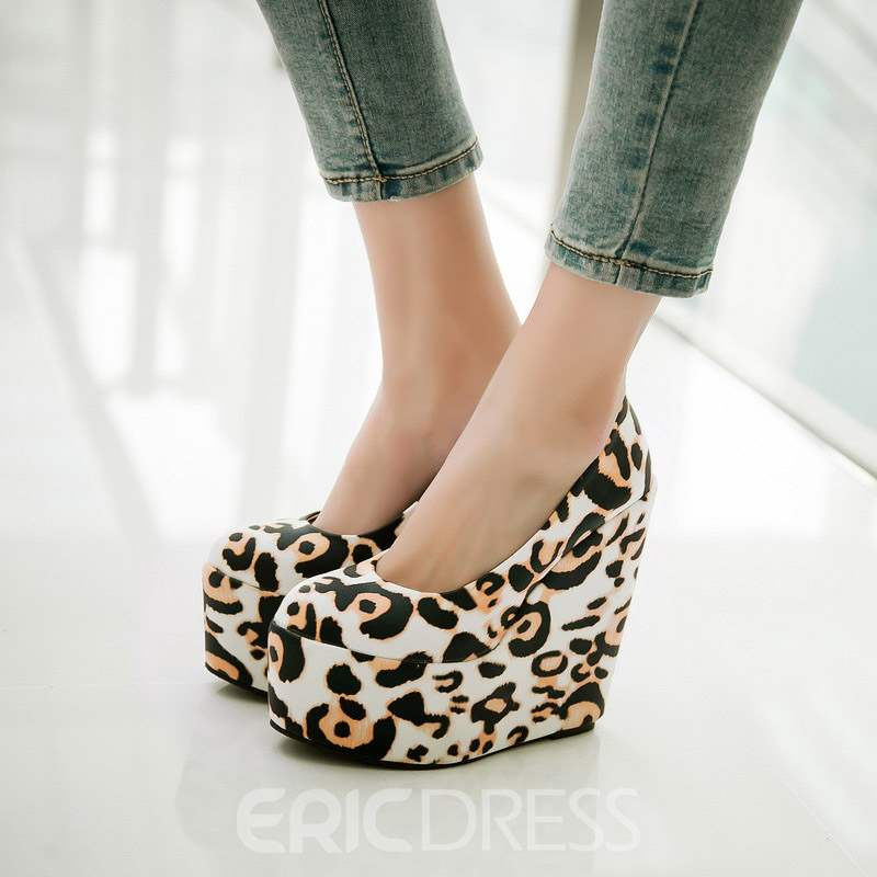 Ericdress Leopard Print Wedge Heel Slip-On Pumps
