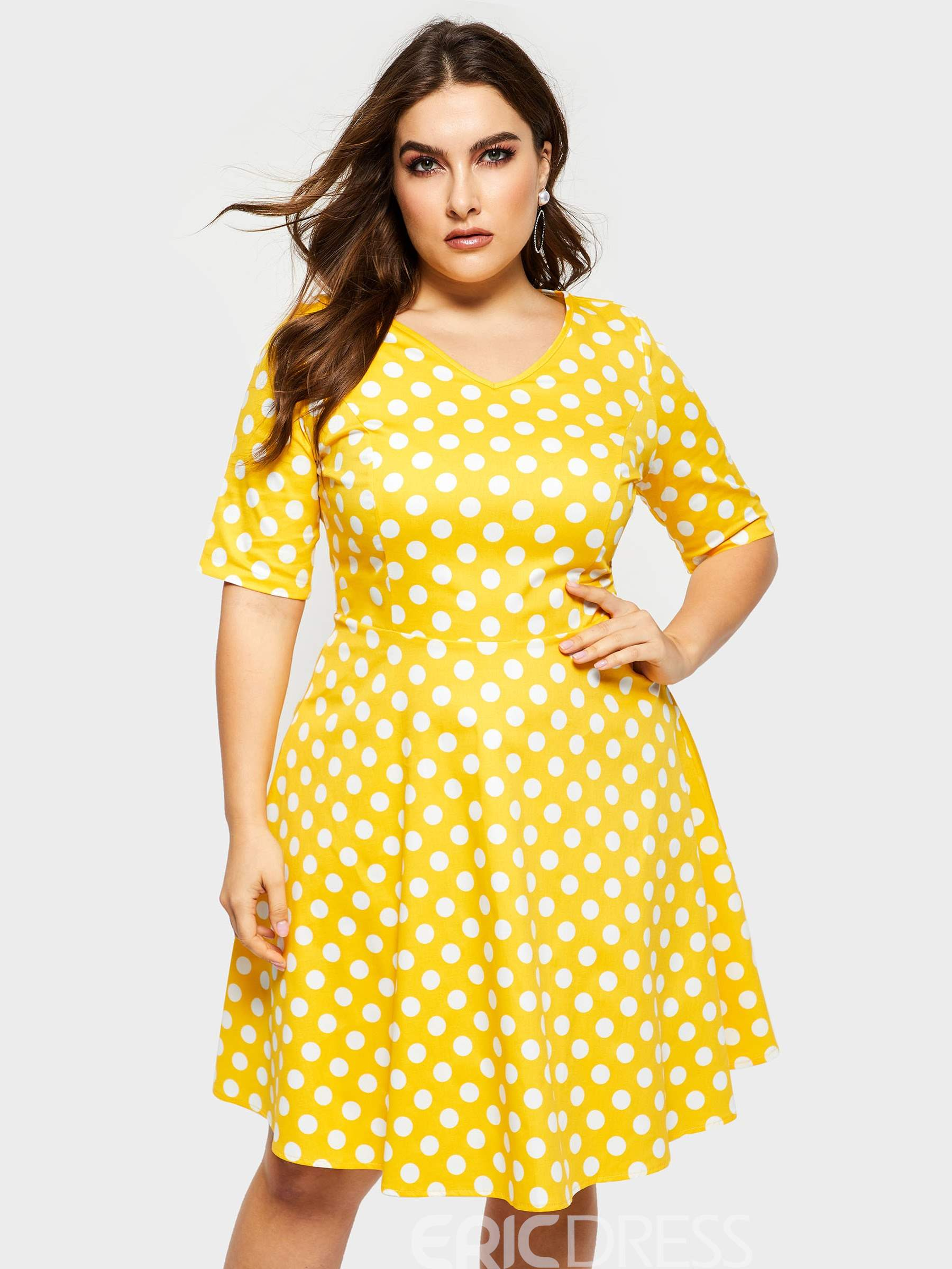 Ericdress Plus Size Knee-Length Polka Dots A-Line Women\'s ...