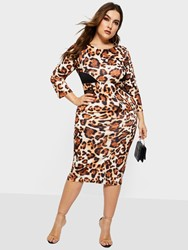 Ericdress Plus Size Patchwork Above Knee Round Neck Bodycon Mid Waist Dress thumbnail