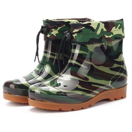 Ericdress PVC Camouflage Elastic Round Toe Men's Hunter Boots