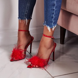Ericdress Faux Fur Stiletto Heel Ankle Strap Women's Sandals