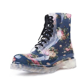 Ericdress Block Heel Floral Round Toe Women's Hunter Boots