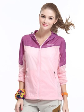 Ericdress Patchwork Color Block Windproof Nylon Long Sleeve Standard Tops
