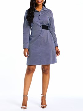 Ericdress Long Sleeve Single-Breasted Knee-Length A-Line Dress