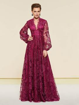 Ericdress V-Neck Long Sleeve Lace Mother of the Bride Dress 2019