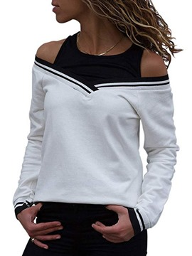 Ericdress Standard Color Block Round Neck Fall Slim T-Shirt