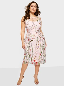 Ericdress sleevelss bordado estampado floral a line dress