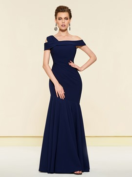 Irregular Neckline Trumpet Mother of the Bride Dress 2019