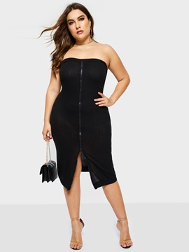 Ericdress Plus Size Sleeveless Mid-Calf Strapless Bodycon Dress