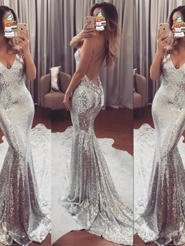 V-Neck Mermaid Sequin Backless Evening Dress