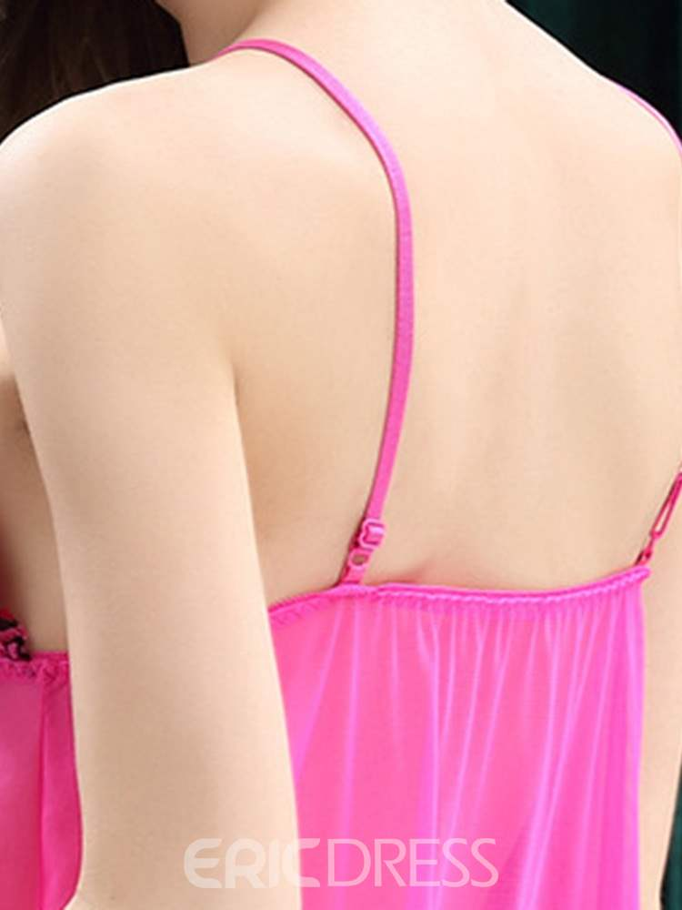 Ericdress Ruffles Backless See-Through Front Split Babydoll