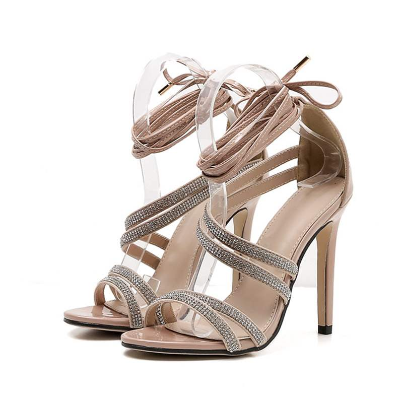Ericdress Rhinestone Stiletto Heel Lace-Up Women's Sandals