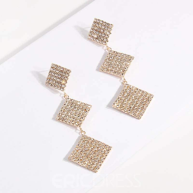 Ericdress Diamante Rhombus Earrings