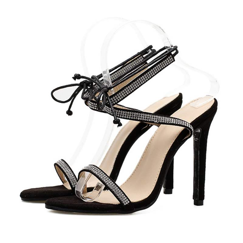 Ericdress Rhinestone Stiletto Heel Ankle Strap Women's Sandals