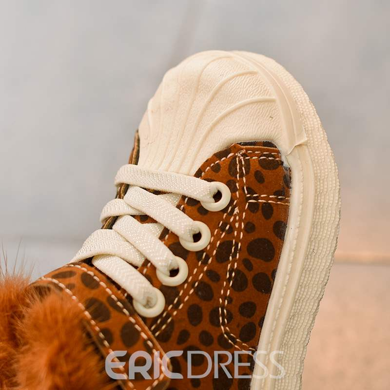 Ericdress Loepard Print Lace-Up Baby Boots