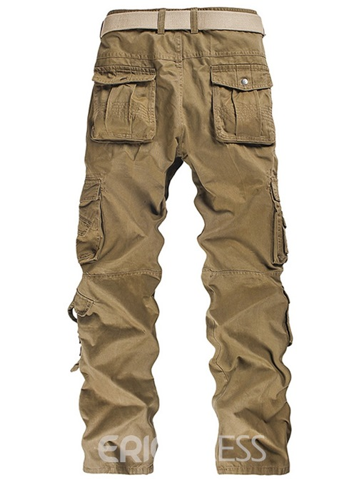 Ericdress Plain Straight Pocket Mens Casual Cargo Pants