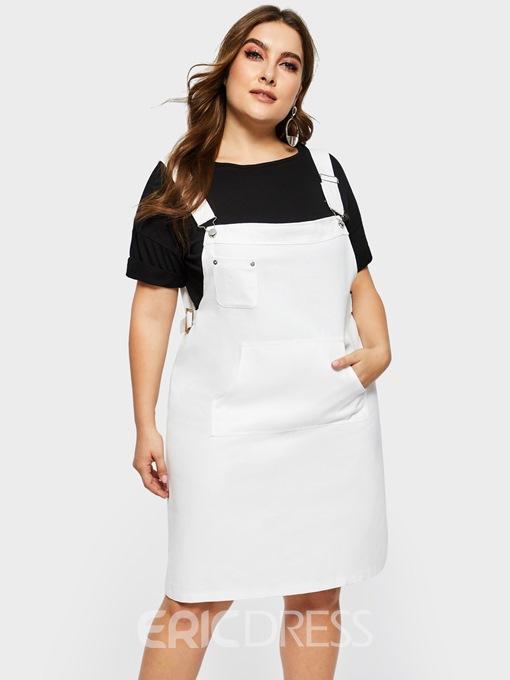 Ericdress Plus Size Knee-Length Square Neck Suspenders Plain Casual Dress