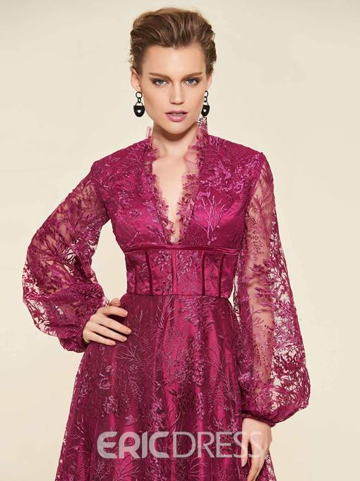 Ericdress V-Neck Long Sleeve Lace Mother of the Bride Dress