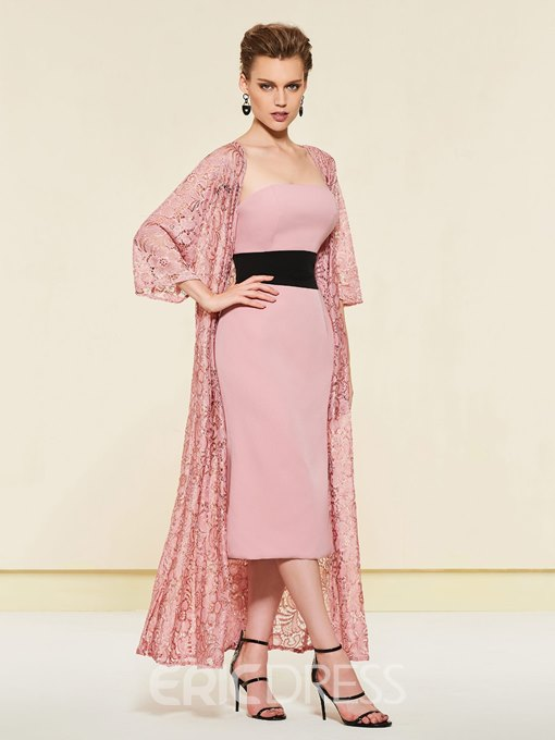 Strapless Column Lace Tea-Length Mother of the Bride Dress