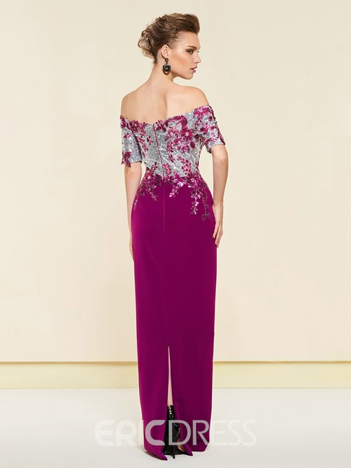 Off-The-Shoulder Sheath Sequins Mother of the Bride Dress