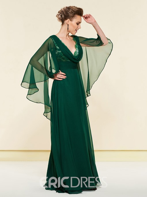 Ericdress V-Neck Draped Lace Mother of the Bride Dress