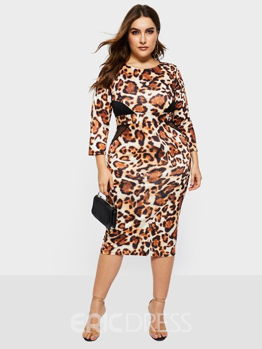 Ericdress Plus Size Patchwork Above Knee Round Neck Bodycon Mid Waist Dress