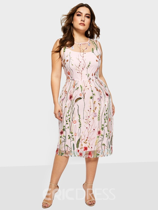 Ericdress Sleevelss Embroidery Floral Print A Line Dress