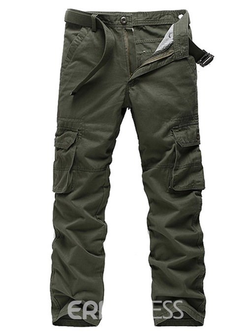 Ericdress Plain Straight Mens Casual Cargo Pants