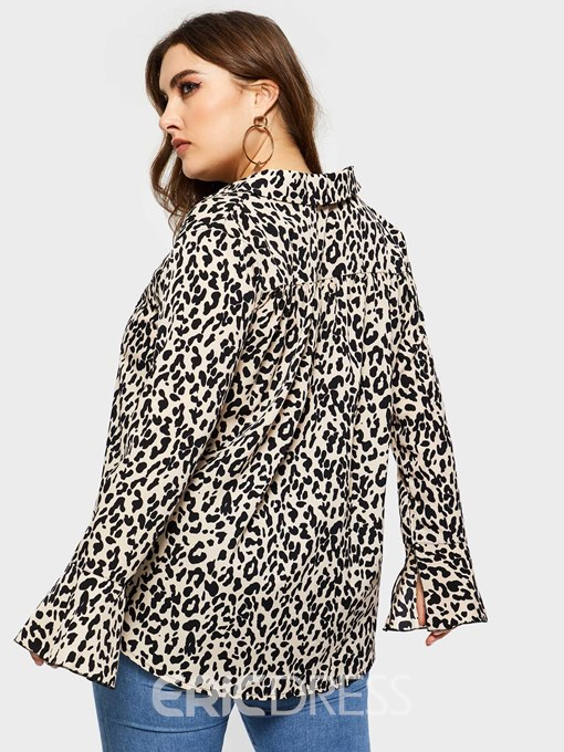 Ericdress V-Neck Leopard Plus Size Mid-Length Blouse