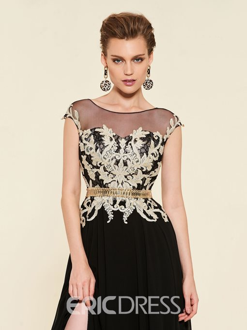 Scoop Neck Cap Sleeve Appliques Mother of the Bride Dress