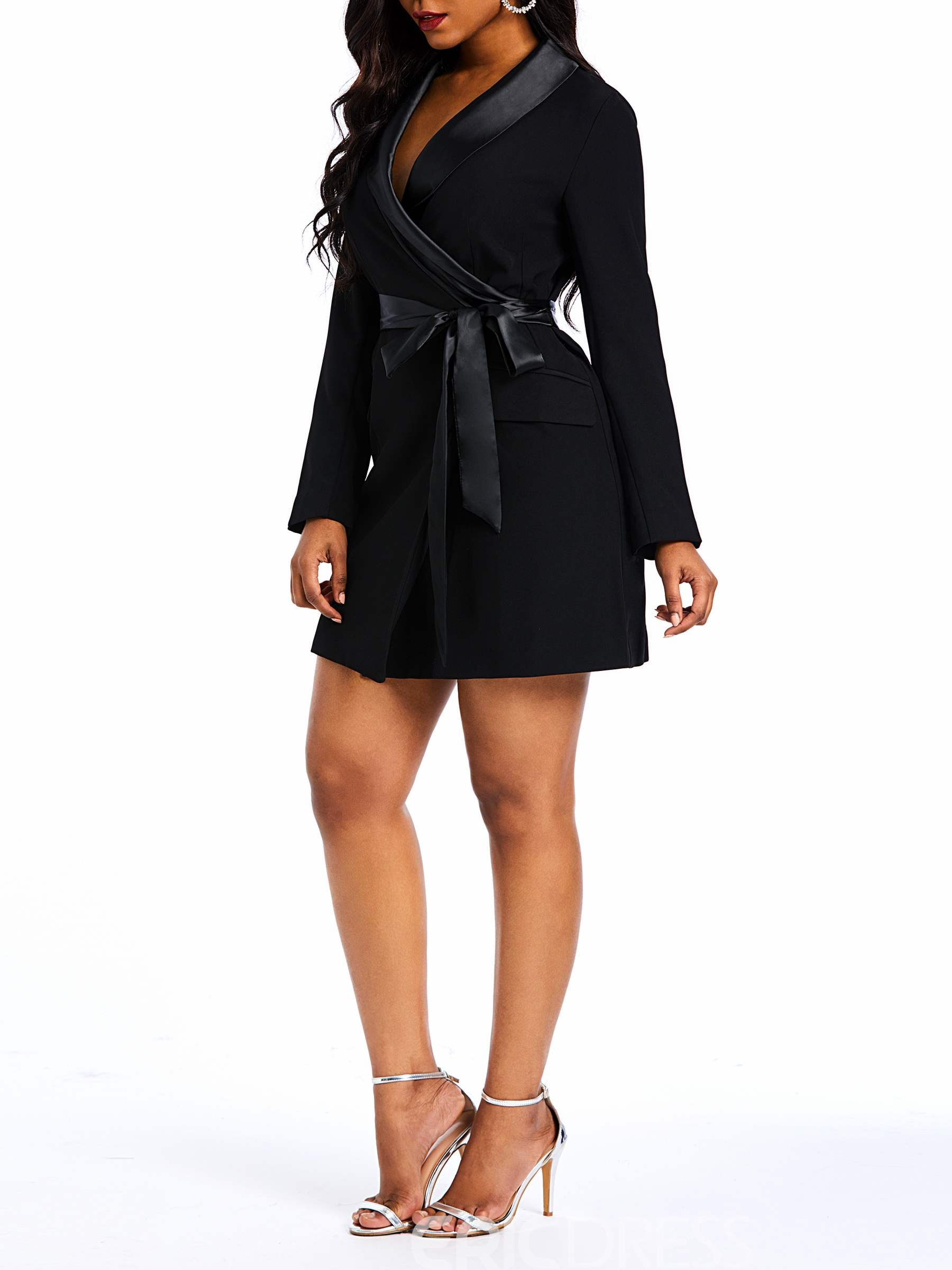 Ericdress Long Sleeve Above Knee Lace-Up Office Lady Dress