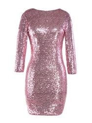 Ericdress Sequins Round Neck Long Sleeve Bodycon Dress фото