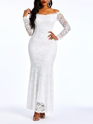 Ericdress Lace Floor-Length Off Shoulder Plain Mermaid White Dress фото