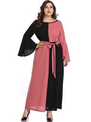 Ericdress Plus Size Ankle-Length Round Neck Lace-Up Pullover Color Block Dress фото