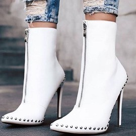 Ericdress Front Zipper Pointed Toe Plain PU Boots
