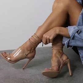 Ericdress PVC Strappy Stiletto Heel Lace-Up Women's Sandals