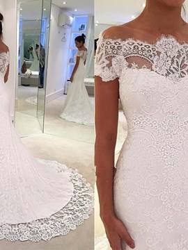 Cap Sleeves Mermaid Beach Wedding Dress