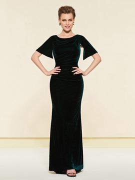 Ericdress Scoop Neck Velvet Sheath Mother Of The Bride Dress