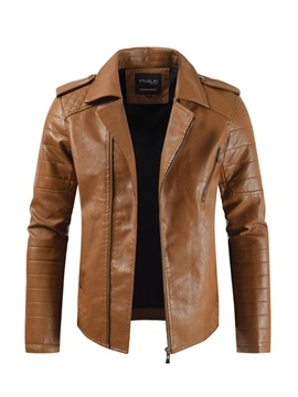 Ericdress Plain Lapel ZipperMens Cool Leather Jacket