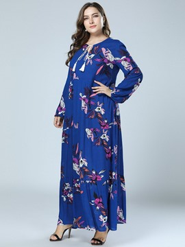 Ericdress Print Long Sleeve Ankle-Length Date Night Plus Size Floral Dress