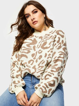 ericdress print leopard plus size strickwaren