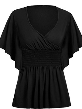 Ericdress Pleated V-Neck Flare Sleeve Plus Size Blouse
