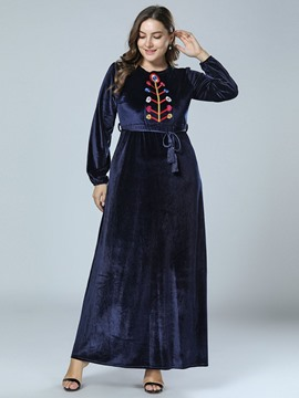 Ericdress Ankle-Length Round Neck Long Sleeve Pullover A-Line Plus Size Dress