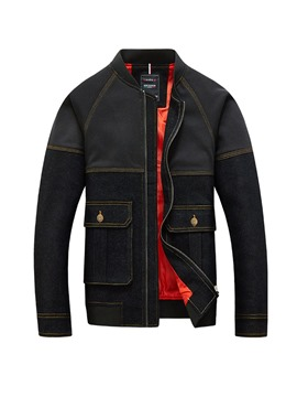 Ericdress Patchwork Stand Collar Pocket Mens Casual Jacket
