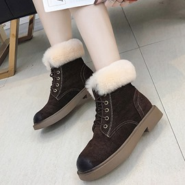 Ericdress Block Heel Round Toe Lace-Up Front Women's Boots