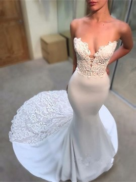 Ericdress Appliques Sweetheart Mermaid Beach Wedding Dress 2019