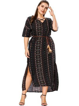 Ericdress Ankle-Length Split V-Neck Date Night Plus Size Stripe Dress